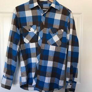 Blue, brown & white button down flannel